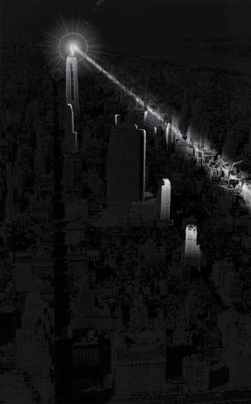 Tesla Beam Seen From New York Skyline